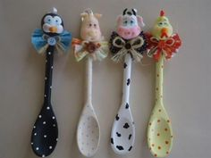 DIY Crafts and Projects added a new photo. Wooden Spoon Crafts, Wooden Spoons, Diy And Crafts, Arts And Crafts, Spoon Art, Kitchen Jars, Small Figurines, Crafts For Seniors, Polymer Clay Crafts