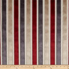 Robert Allen Promo Velvet Neo Stripe Upholstery Currant from @fabricdotcom  Refresh and modernize an old piece of furniture and update it with a new look. This heavyweight velvet stripe upholstery fabric has a backing and is appropriate for accent pillows, upholstering furniture, headboards and ottomans. Colors include charcoal, beige, red and ivory.