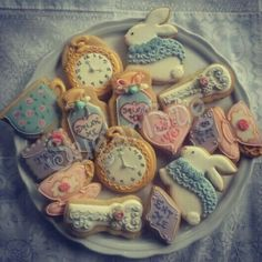 Pastel shabby chic alice in wonderland fantasy cookies