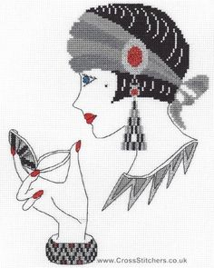 Art Deco People | Amber - Art Deco Cross Stitch Kit from Classic Embroidery.