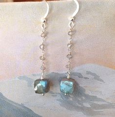 Labradorite cube dangle earrings, sterling silver wire wrapped labradorite cubes, stunning blue flash