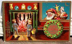 Antique Embossed Christmas Postcard Santa Claus by onestrangegirl