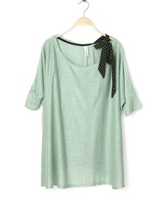 Green Batwing Sleeve Knit Blouse with Polka Dot Bow Shoulde