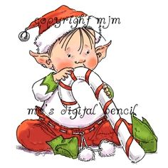 Fantasy - Fairies and Wizards - Mo's Digital Pencil Christmas Rock, Christmas Baby, Christmas Pictures, Christmas Stuff, Christmas Illustration, Cute Illustration, Digital Pencil, Xmas Drawing, Elf Drawings