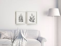 Botanical Leaves Wall Decor, Black and white Plant Prints, Master bedroom art, 2 piece wall set Large printable 16x20 prints, Large wall art by EphericaArt on Etsy