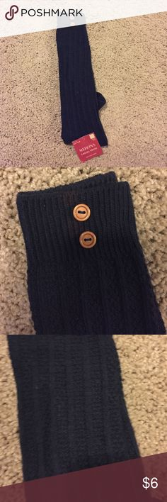 NWT Navy knee high socks NWT knee high women's socks. Two brown button detail on tops of the sock. Great boot sock! Merona Accessories Hosiery & Socks