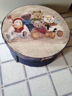 """Vintage Painted Wooden Bear Themed Cheese Box signed 16"""" Round - Inside Material"""