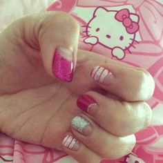 Pink glitter and stripes. Love my nails by Adrienne!