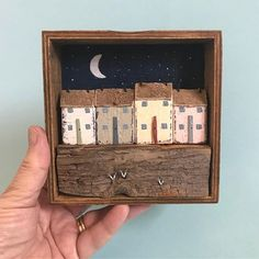 Half moon. #shabbydaisies #shabbychic #box#moon#littlehouse #handmade #driftwood #rusticart #diarama #nautical #lorainespick