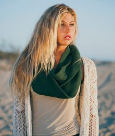Hand Knit Infinity Scarf in Forest Green Christmas by ElizabethKoh visit www.elizabethkoh.com #elizabethkoh #sageerickson #infinityscarf #knit #fallfashion #scarf #surfer #autumn #handmade #fairtrade #christmas #holiday #gift  #winter #fashion #forestgreen