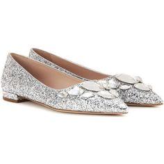 Miu Miu Embellished Glitter Ballerinas ($565) ❤ liked on Polyvore featuring shoes, flats, miu miu, silver, ballet flats, glitter flats, ballet shoes, ballerina shoes and ballerina flats