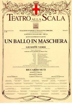 Un Ballo in Maschera  I Locandina Stagione Scala 2001, regia Liliana Cavani, dirige Muti