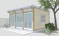 Clean, green and eye-catching. For fans of prefab tiny houses, these three words describe the beautiful designs of Cabin Fever. Tiny House Blog, Small Tiny House, Tiny House Plans, Small Homes, Modular Homes, Prefab Homes, Studio Shed, Dream Studio, Little Houses