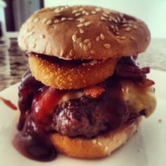 Sometimes all you need is a good burger #burger #onionrings #bbqsauce #cheese