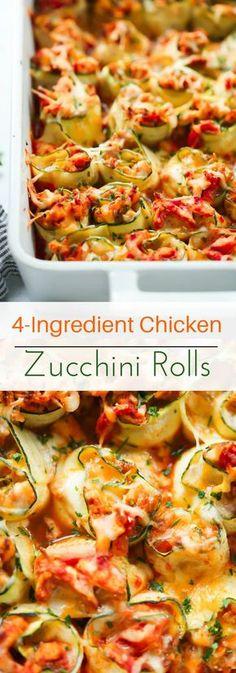 4-Ingredient Chicken Zucchini Rolls - These 4-Ingredient Chicken Zucchini Rolls make a super easy, healthy and delicious dinner for the whole family! It's gluten-free and low-carb! Enjoy!