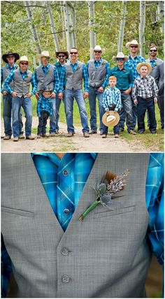 Rustic Country Weddings Country-Western wedding, groomsmen outfits, gray vests, blue plaid button-down shirts, cowboy hats // Mark Creery Photography Country Wedding Groomsmen, Country Wedding Dresses, Wedding Country, Country Weddings, Outdoor Weddings, Cowboy Wedding Attire, Barn Weddings, Cowboy Weddings, Country Groomsmen Attire