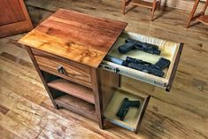 NEW: QLine Design 'Essentials' Concealment Furniture Hidden Gun Storage, Secret Storage, Hidden Gun Safe, Weapon Storage, Wood Furniture, Furniture Design, Furniture Stores, Furniture Ideas, Dixie Furniture