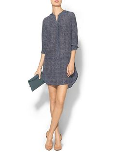 Piperlime Collection Printed Silk Dress - Navy marshmallow dotted chevron
