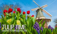 Discover picturesque Holland and Belgium in the spring on this marvelous river cruise vacation! Drink in the colorful blooming beauty of famous Keukenhof Gardens, and visit one of the charming windmills at Kinderdijk.  Plus, you'll experience local culture, cuisine and customs along the way. All of this is waiting for you on this vacation sure to delight all of your senses! #USAATravel #USAAShopping