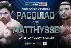 Watch Manny Pacquiao vs Lucas Matthysse Live Streaming free on ESPN Boxing online 2018 at Axiata Arena, Kuala Lumpur, Malaysia.  Pacquiao vs Matthysse Boxing fight will be kick of Saturday 14 July 2018, Time 9 p.m. ET.  Welcome to watch Manny Pacquiao vs Lucas Matthysse Live Stream online on your pc/laptop, mac, ipad. Do not wait to access this HD link, when the Manny Pacquiao vs Lucas Matthysse is mostly over and you will get live stream, scores, results and highlights.