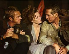 "Steve McQueen, Faye Dunaway and Paul Newman taking a break on ""The Towering Inferno"" set"