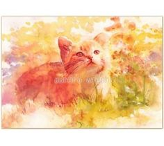 Aurora Wienhold-Sun-kissed-LIMITED-PRINT-CAT-KATZE-GATO-CHAT-FELINE-AQUARELL