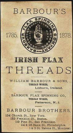 Barbour's Machine Thread [back] Binder Labels, Church News, Boston Public Library, Belfast, Barbour, Northern Ireland, Irish, Vintage Sewing, Ephemera