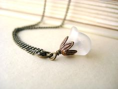 White Flower Necklace  charm pendant by littlewhitechapel on Etsy, $18.00