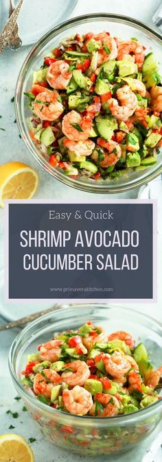 This Shrimp Avocado Cucumber Salad is loaded with red onions, cucumber, red bell peppers, avocado and sautéd shrimp. Also, it's tossed with a very light and fresh lemon dressing. Delicious! #glutenfree #lowcarb #paleo #salad #avocadosalad #shrimp #whole30 #keto