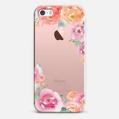 Casetify iPhone SE Classic Snap Case - Pretty Watercolor Flowers Painted Design by Angie Makes