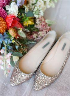 glitter stylish and comfortable wedding flats