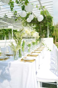 Incredible white wedding party! See more party planning ideas at CatchMyParty.com!