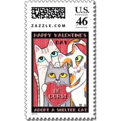 Valentine Rescued Cat / Cat Lover Postage Stamp