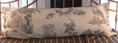 Unique 100% linen Body Pillow cover- exclusive fabric design by Ginny Stine - New World Toile. $40.00, via Etsy.
