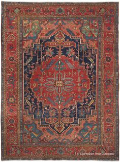 SERAPI HERIZ, Northwest Persian, 9ft 7in x 13ft 4in, Circa 1900. This carpet enlivened the Chappaqua Family's Maine home and is a sterling example of the splendid room size Persian carpets that were made in the villages around Heriz at the turn of the 20th century. Its rustic artistry is wonderfully expressed through bold scale, a harmonious palette of naturally dyed and spirited colors, and engaging abstract floral drawing.