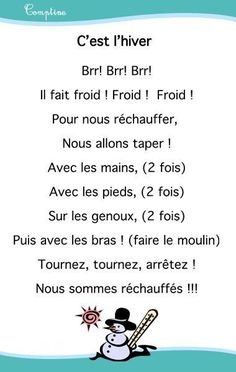 Comptines chansons hiver - Assistante Maternelle Argenteuil - Orgemont Additionally, I am some sort of French Teacher, Teaching French, French Poems, Nursery Rhymes Songs, Core French, French Education, French Classroom, Kindergarten Lesson Plans, French Immersion