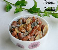 Peanut sundal - south Indian snack  is very subtley spiced with Indian Spices. Guilt Free and healthy snack.