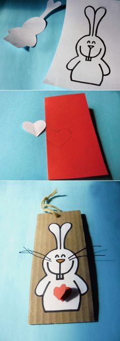 easter craft kids cards bunny red heart template