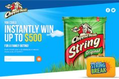 The Frigo Cheese Heads Bite Size String Break Sweepstakes on http://www.icravefreebies.com/