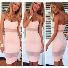 Mesh Stitching Bodycon Pencil Dress #bodycondress #mesh