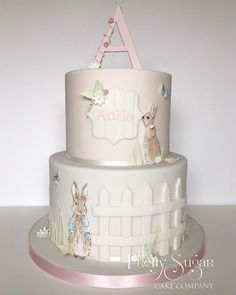 Browse through the different cakes we create here at The Pretty Sugar Cake Company, from Wedding Cakes & Wedding Favours to Celebration Cakes, to Cupcakes & Cookies. Peter Rabbit Cake, Peter Rabbit Birthday, 1st Birthday Cake For Girls, First Birthday Cakes, Birthday Ideas, Bunny Birthday, Beatrix Potter Cake, Christening Cake Girls, Luxury Cake