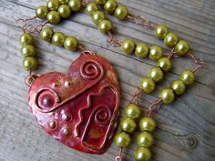 Solid Copper Heart Green Glass Pearl Wire by gristmilldesigns, $21.95