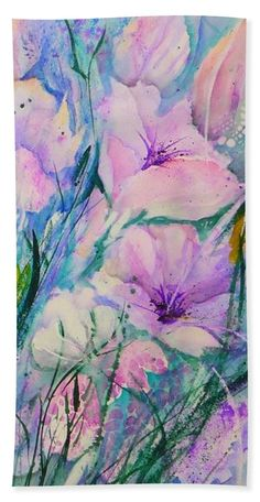 Spring Flower Medley pink and purple Beach Towel for Sale by Sabina Von Arx Purple Spring Flowers, Purple Beach, Pastel Flowers, Iris Flowers, Poppy Flowers, White Flowers, Pink Bathroom Decor, Bathroom Paint Colors
