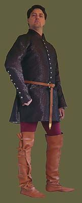 14th-15th century Mens Brocade Buttoned Cotehardie from Revival Clothing
