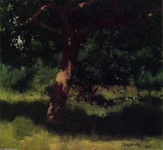 """Midsummer Landscape with Apple Tree"", 1881, Oil On Canvas by Dennis Miller Bunker (1861-1890, United States)"