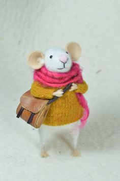 Little Traveler Mouse -  needle felted ornament animal, felting dreams