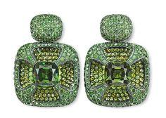 Hemmerle earrings – tourmalines, demantoid garnets, silver, white gold. Photo courtesy of Hemmerle