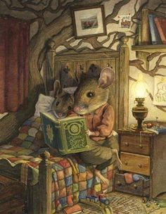 Reading. Illustration is the kind my mom and I would have loved to pore over while she read to me. Sigh..... sweet memories.