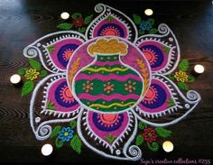 Indian Rangoli Designs, Rangoli Designs With Dots, Kolam Designs, Pookalam Design, New Year Rangoli, Rangoli Colours, Diwali Craft, Birthday Cake With Candles, Dress Neck Designs