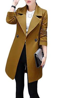 c15298e56c2537 Jmwss QD Womens Casual Slim Lapel Neck Single Button Long Sleeve Blazer  Brown XXS